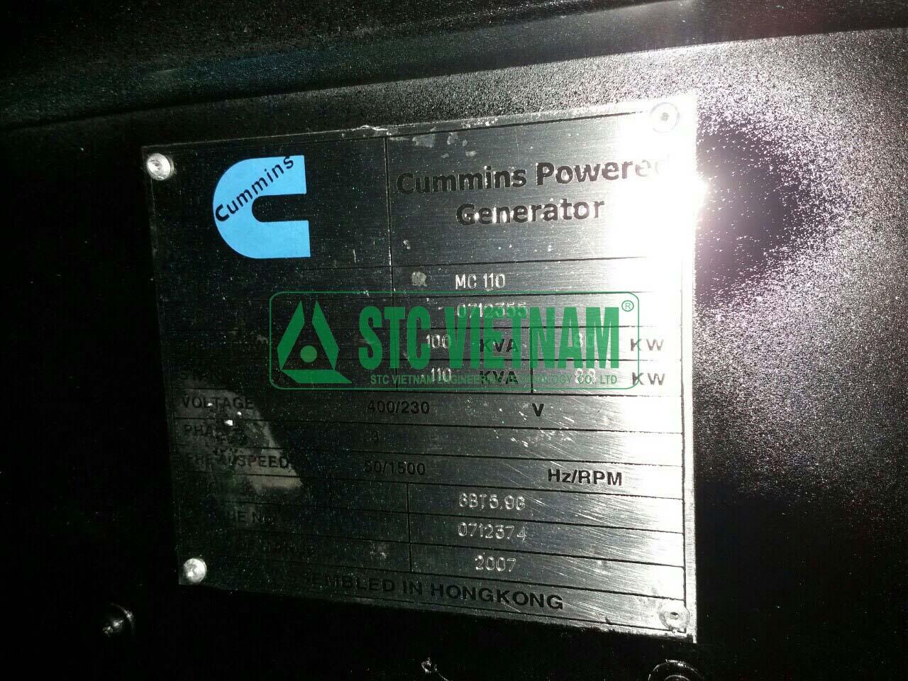 Máy phát điện cũ Cummins 110 Kva