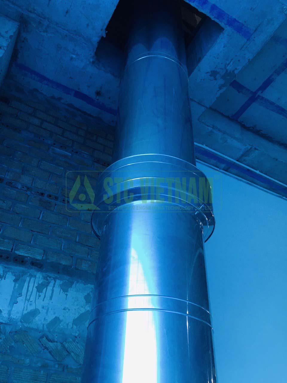 Bảo ôn cách nhiệt ống khói D400, inox